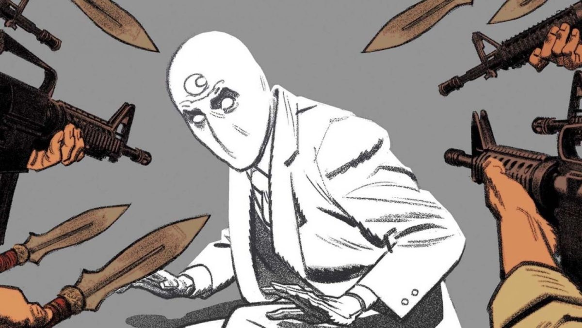 moon knight in the comics surrounded by weapons