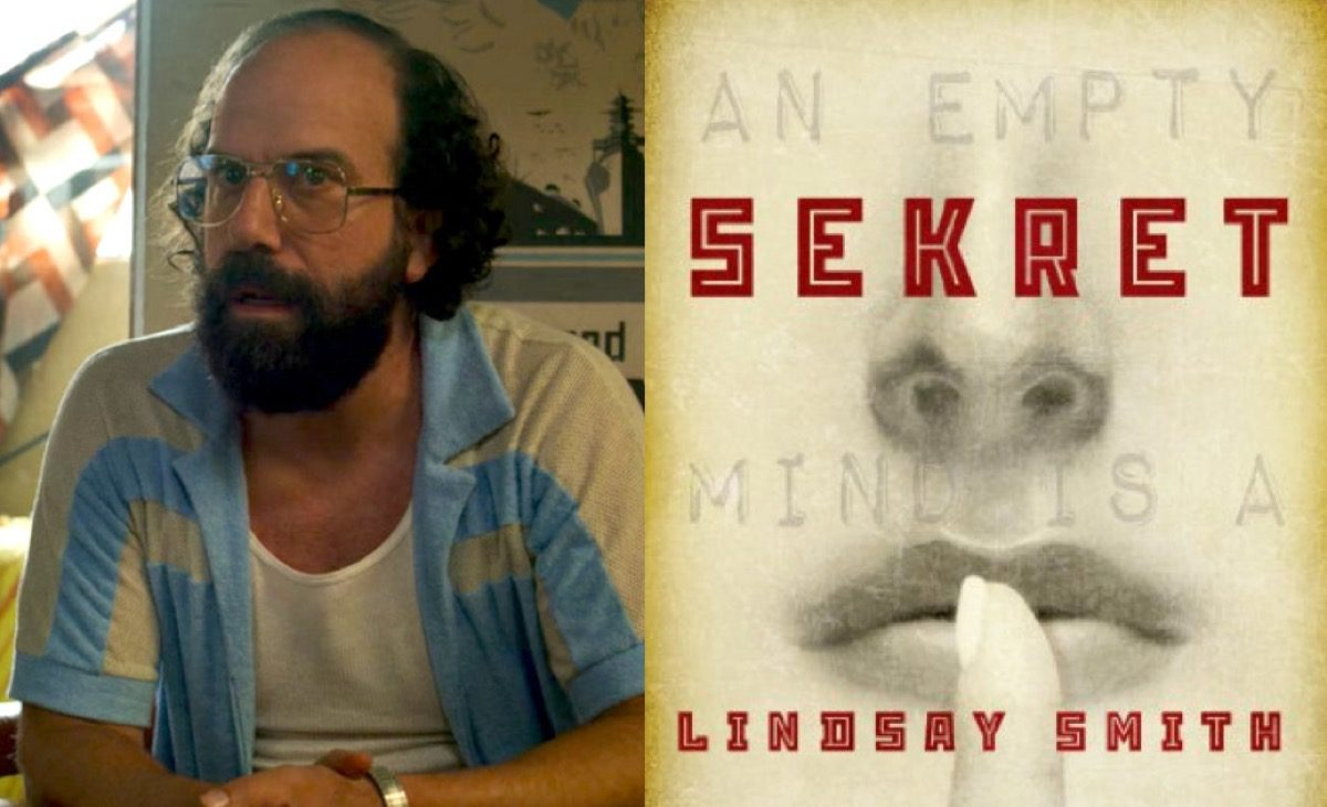 Murray in Netflix's Stranger Things and Sekret book cover.