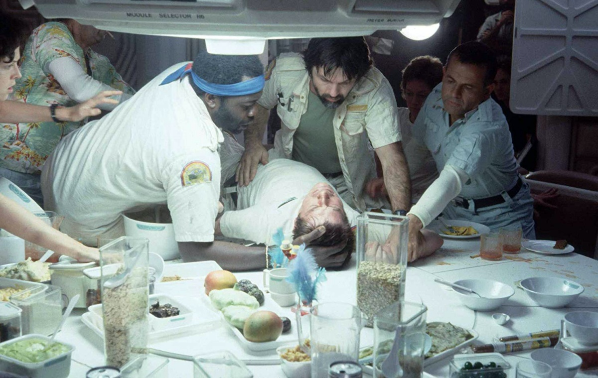 Sigourney Weaver, Ian Holm, John Hurt, Tom Skerritt, Veronica Cartwright, Yaphet Kotto, and Harry Dean Stanton in Alien (1979)