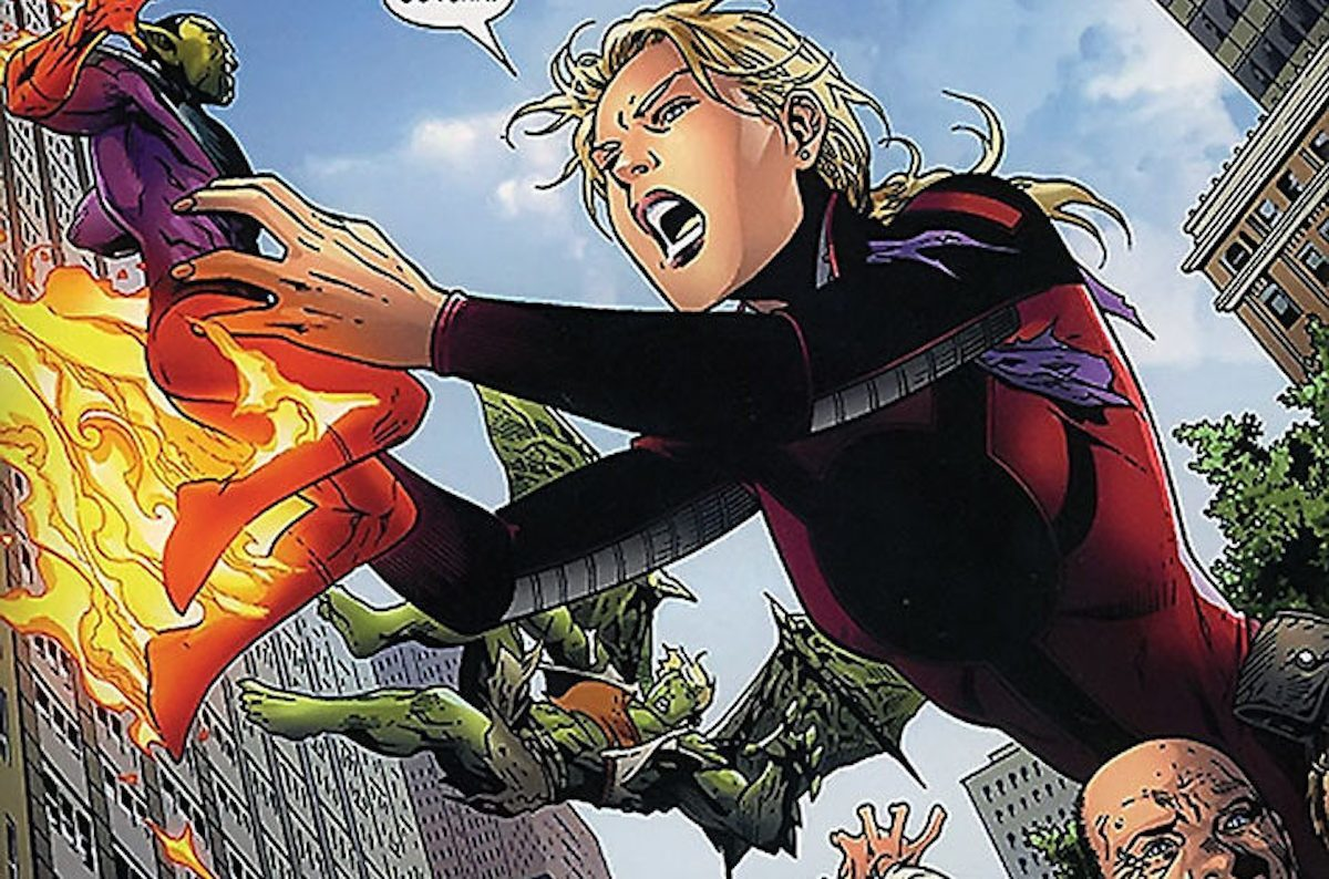 Cassie Lang as all giant as Stature in a battle in Marvel Comics.