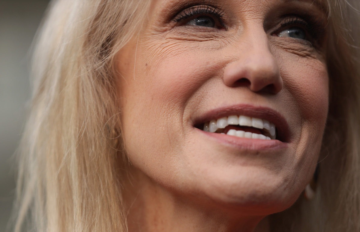 Closeup of Kellyanne Conway smiling.