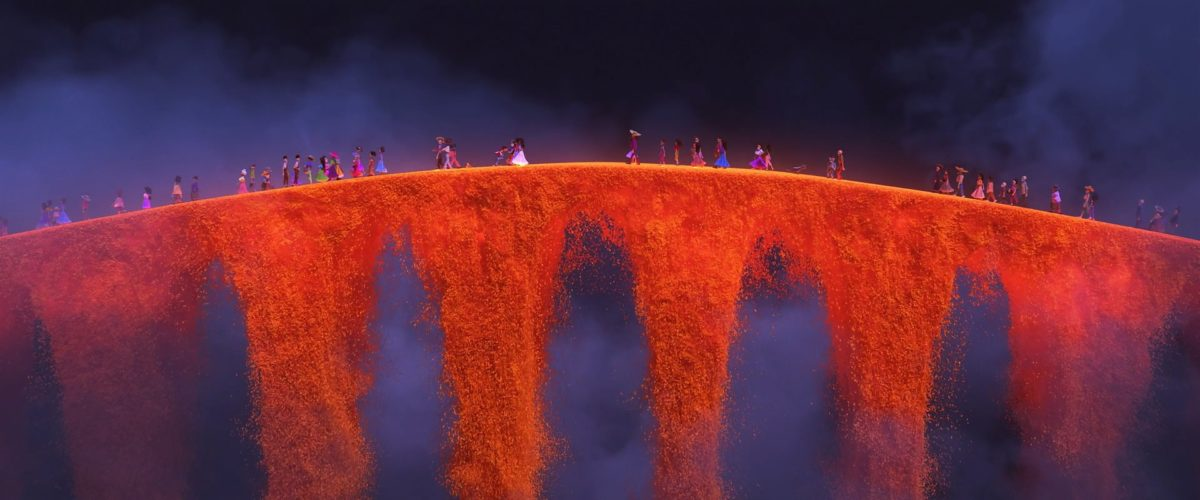 souls cross over the marigold bridge into the land of the dead in COCO