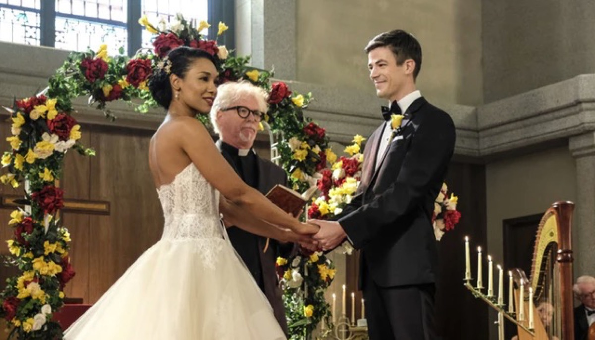 Iris and Barry getting married on The CW's The Flash.