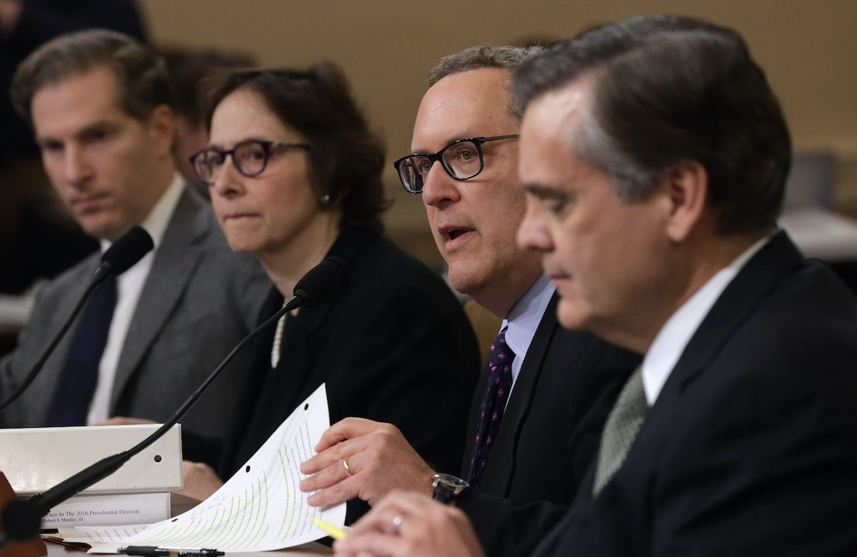Constitutional scholars (L-R) Noah Feldman of Harvard University, Pamela Karlan of Stanford University, Michael Gerhardt of the University of North Carolina, and Jonathan Turley of George Washington University testify before the House Judiciary Committee