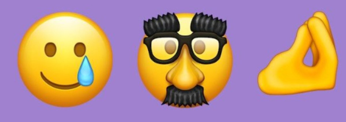 crying smiling groucho marx and pinched finger emojis
