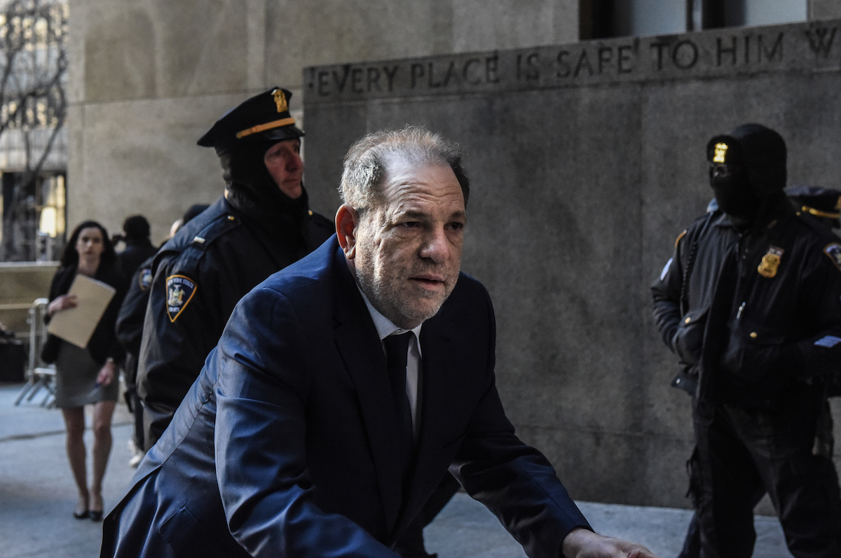Harvey Weinstein arrives at New York City criminal court, hunched over a walker.
