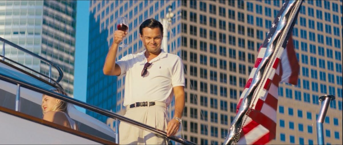 leo dicaprio in wolf of wallstreet with wine