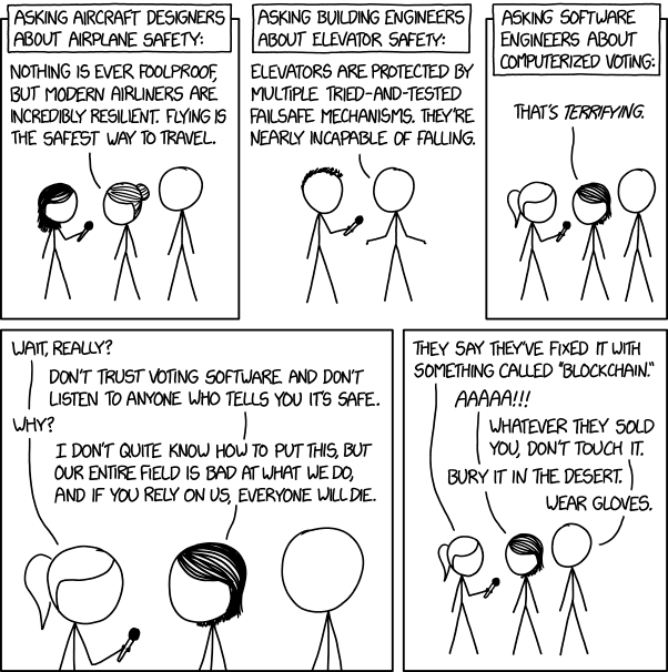 XKCD comic on voting software