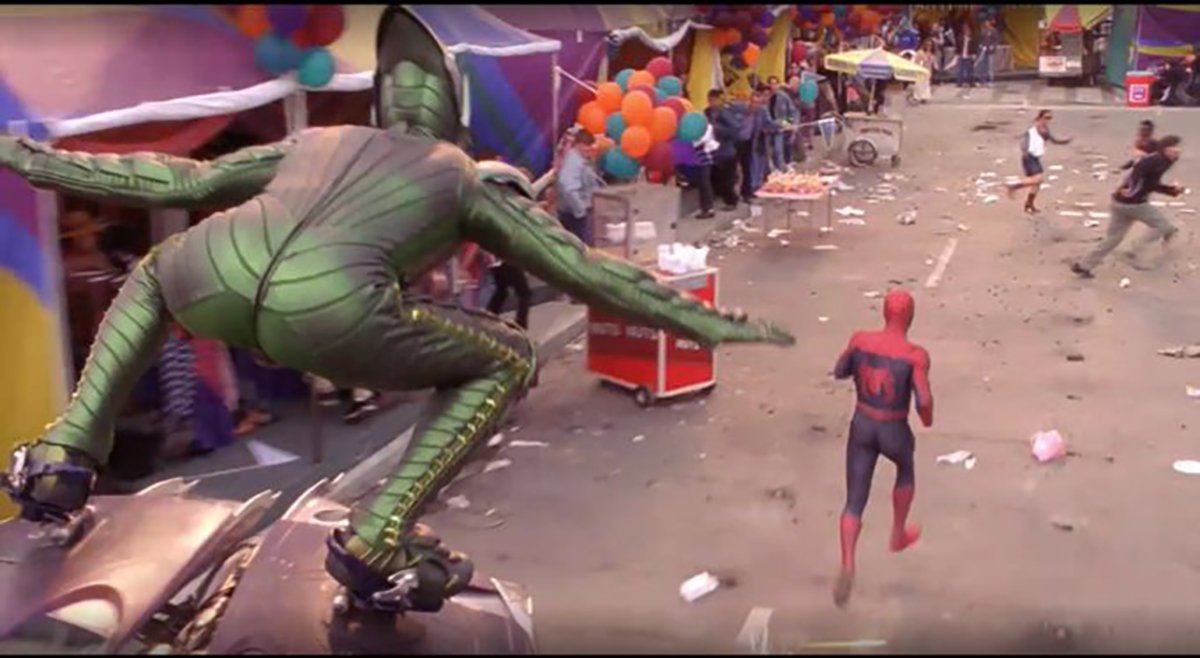 A picture of the Green Goblin chasing Peter Parker with booties on display