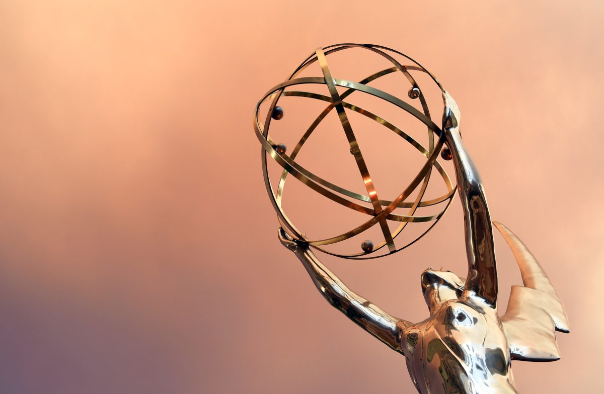 Emmy Statue is seen in front of the Television Academy during the red carpet for the 68th Los Angeles Emmy Awards featuring Niecy Nash, Jason George, Mary Holland, Florence Henderson and Larry King in North Hollywood, California, on July 23, 2016. / AFP / Angela WEISS (Photo credit should read ANGELA WEISS/AFP via Getty Images)