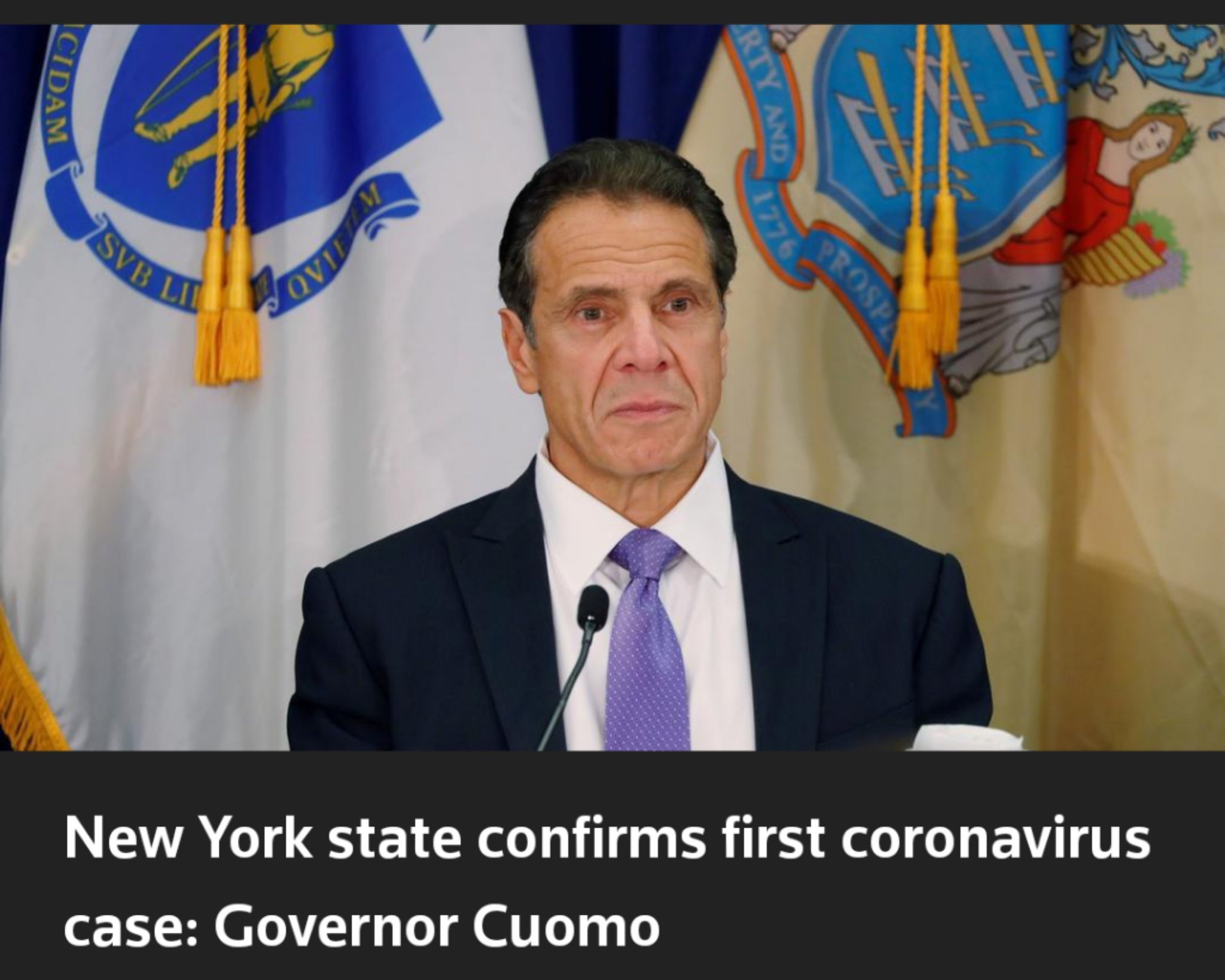 "Picture of Andrew Cuomo with the headline ""New York state confirms first coronavirus case: Governor Cuomo"""