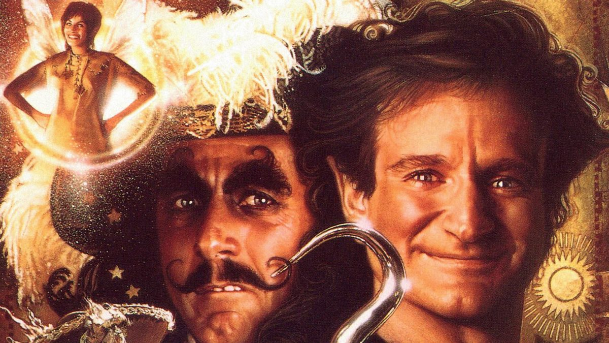 julia roberts dustin hoffman and robin williams on the poster for hook