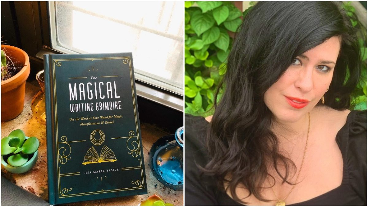 lisa marie basile with her book the magical writing grimoire