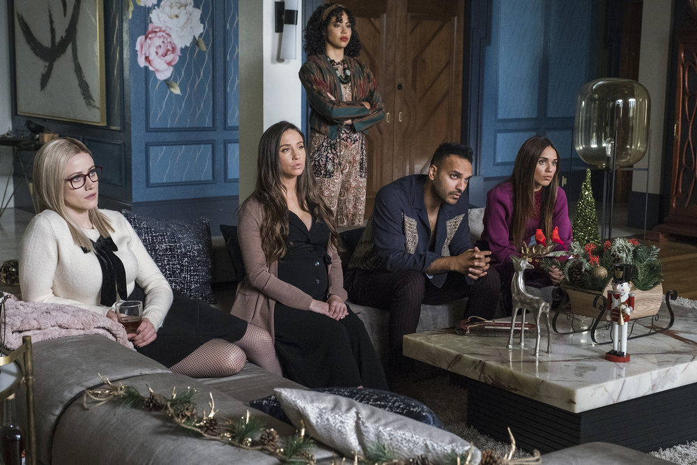 """THE MAGICIANS -- """"Fillory and Further"""" Episode 513 -- Pictured: (l-r) Olivia Taylor Dudley as Alice Quinn, Stella Maeve as Julia Wicker, Rain Steele as Merritt/Plum, Arjun Gupta as Penny Adiyodi, Summer Bishil as Margo Hanson -- (Photo by: James Dittiger/SYFY)"""