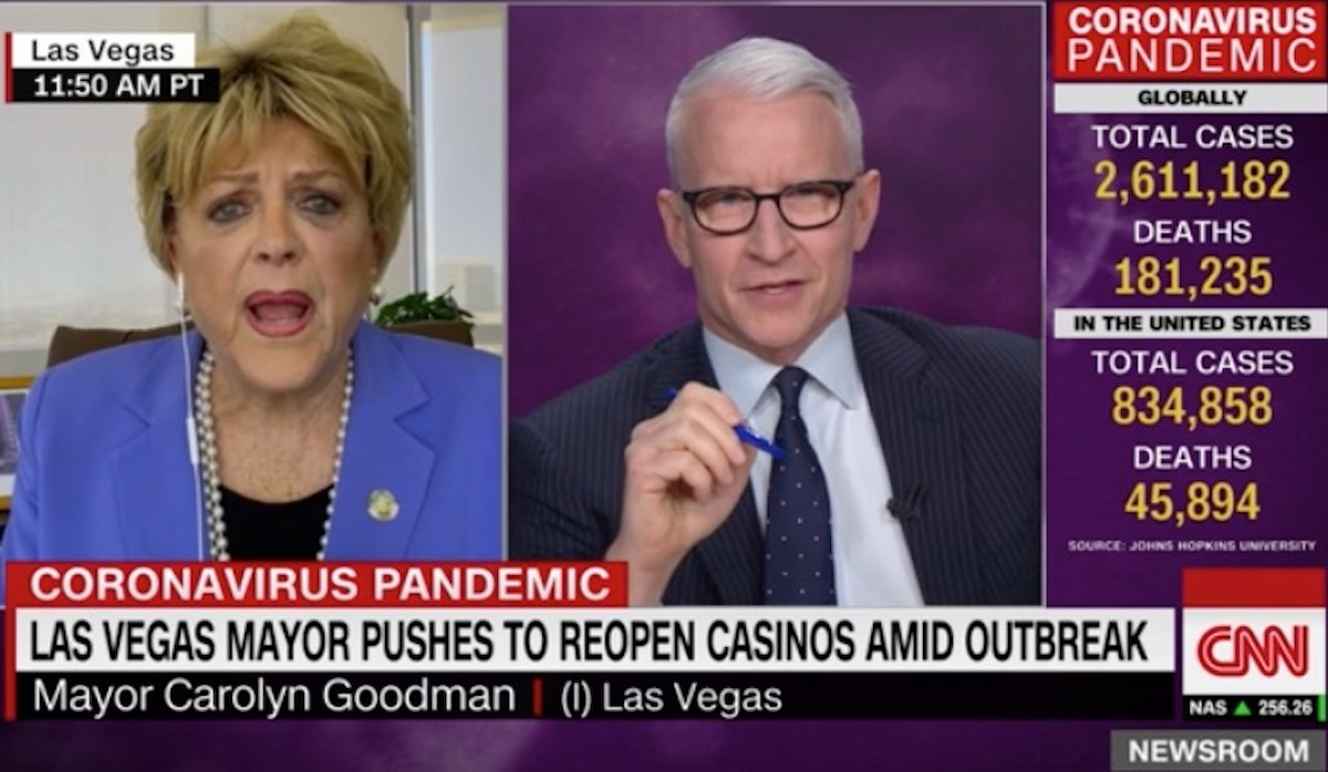 Anderson Cooper interviews Las Vegas mayor Carolyn Goodman.