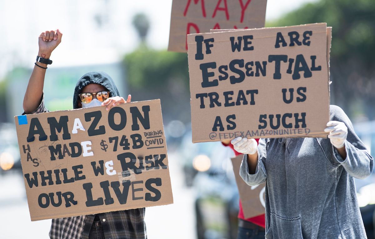Amazon workers protest in the streets.