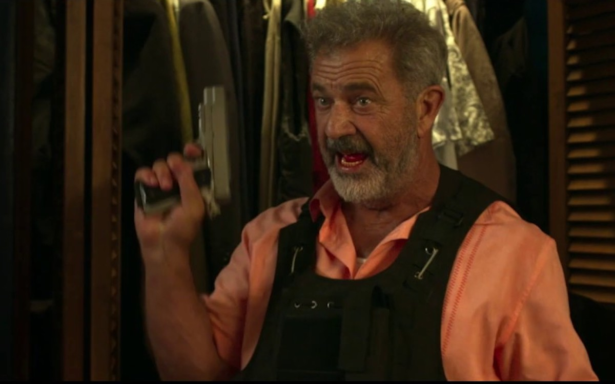 Mel Gibson holds a gun in the trailer for his crappy new movie.