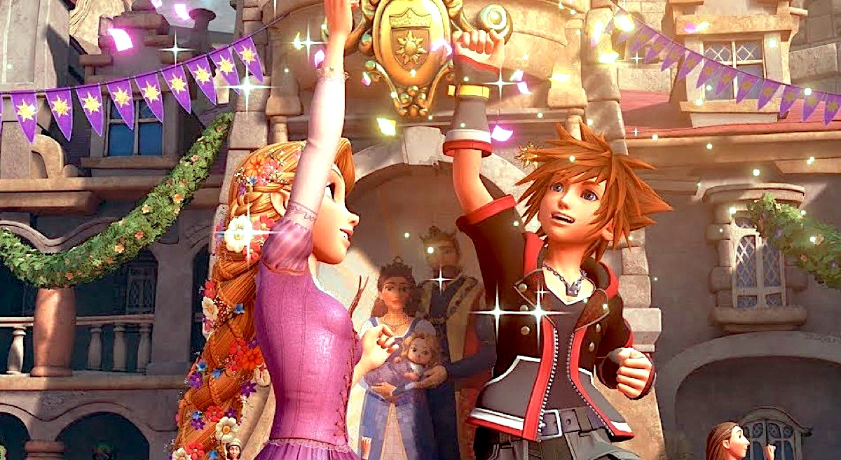 Rapunzel and Sora in Kingdom Hearts 3.