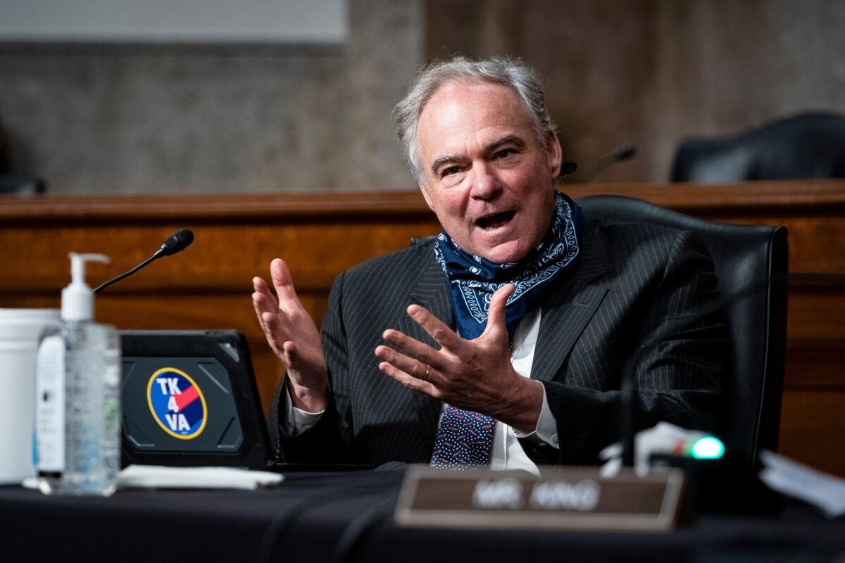 US Senator Tim Kaine speaks during a Senate Armed Services nominations hearing on Capitol Hill in Washington, DC on May 7, 2020. - The hearing was for US Ambassador to Norway Kenneth Braithwaite, nominated to be Secretary of the Navy; James Anderson, nominated to be Deputy Under Secretary of Defense For Policy; and General Charles Q. Brown, Jr., nominated to Chief of Staff of the US Air Force. (Photo by Al Drago / POOL / AFP) (Photo by AL DRAGO/POOL/AFP via Getty Images)
