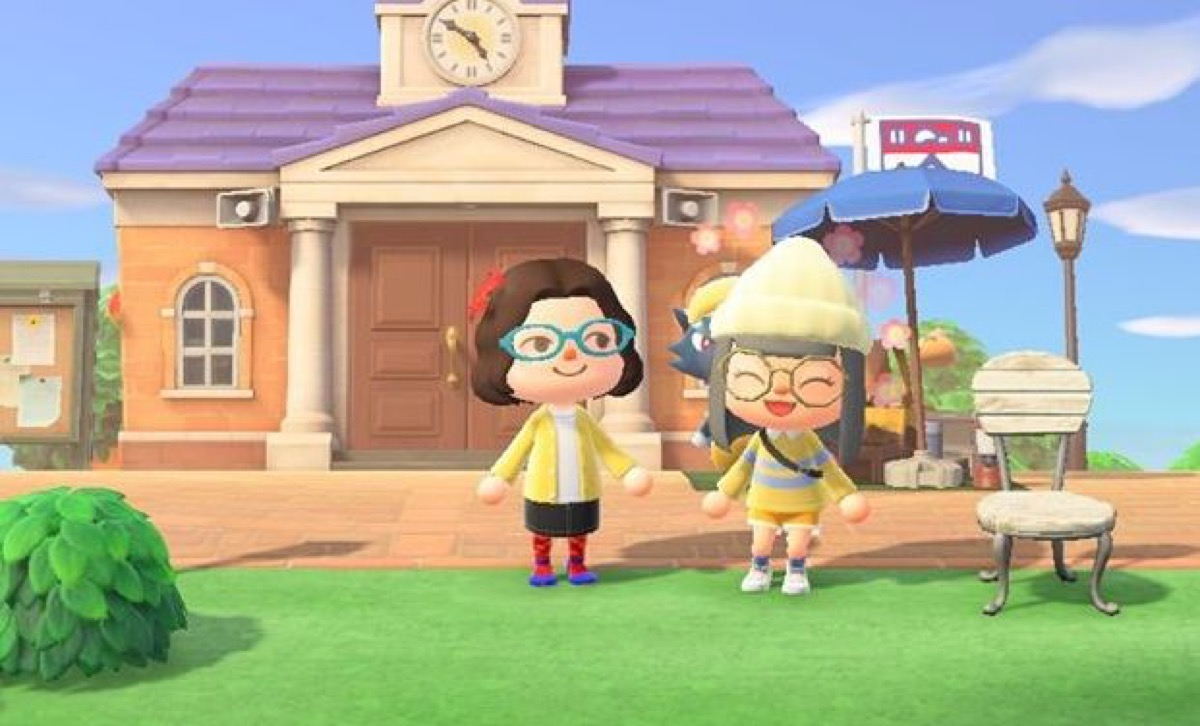 A student visits their library in Animal Crossing.