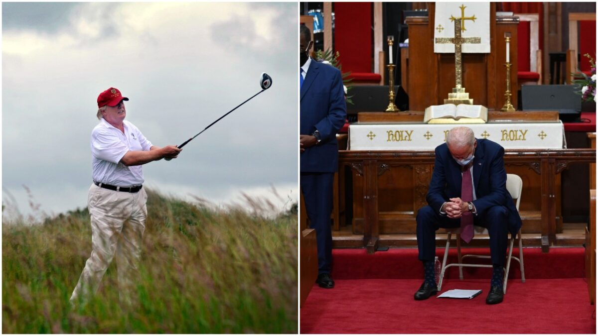 """collage: US tycoon Donald Trump plays a stroke as he officially opens his new multi-million pound Trump International Golf Links course in Aberdeenshire, Scotland, on July 10, 2012. Work on the course began in July 2010, four years after the plans were originally submitted. AFP PHOTO / Andy Buchanan (Photo credit should read Andy Buchanan/AFP/GettyImages)Former vice president and Democratic presidential candidate Joe Biden(C) prays as he meets religious leaders in Wilmington, Delaware on June 1, 2020. - Democratic presidential candidate Joe Biden visited the scene of an anti-racism protest in the state of Delaware on May 31, 2020, saying that the United States was """"in pain"""". """"We are a nation in pain right now, but we must not allow this pain to destroy us,"""" Biden wrote in Twitter, posting a picture of him speaking with a black family at the cordoned-off site where a protesters had gathered on Saturday night. (Photo by JIM WATSON / AFP) (Photo by JIM WATSON/AFP via Getty Images)"""
