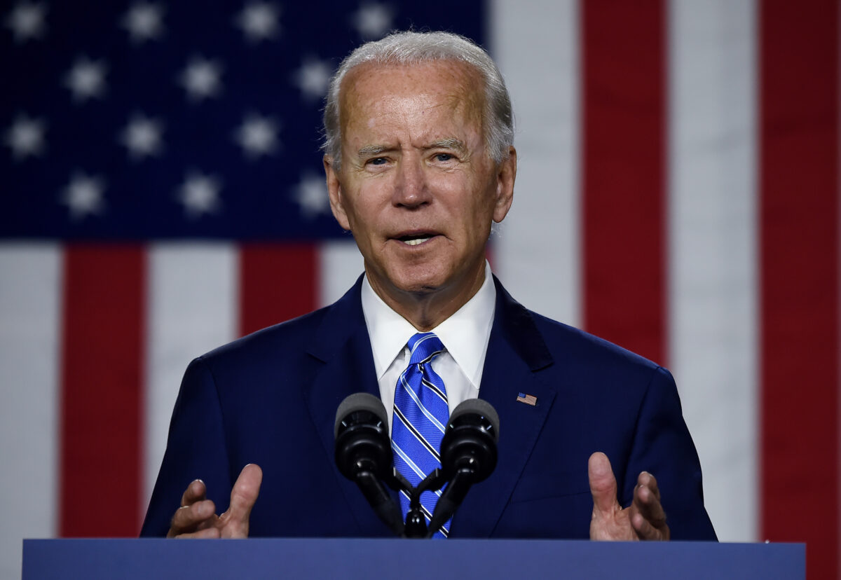 """Democratic presidential candidate and former Vice President Joe Biden speaks at a """"Build Back Better"""" Clean Energy event on July 14, 2020 at the Chase Center in Wilmington, Delaware. (Photo by Olivier DOULIERY / AFP) (Photo by OLIVIER DOULIERY/AFP via Getty Images)"""