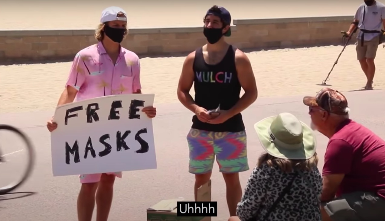 Bros handing out masks, bro.