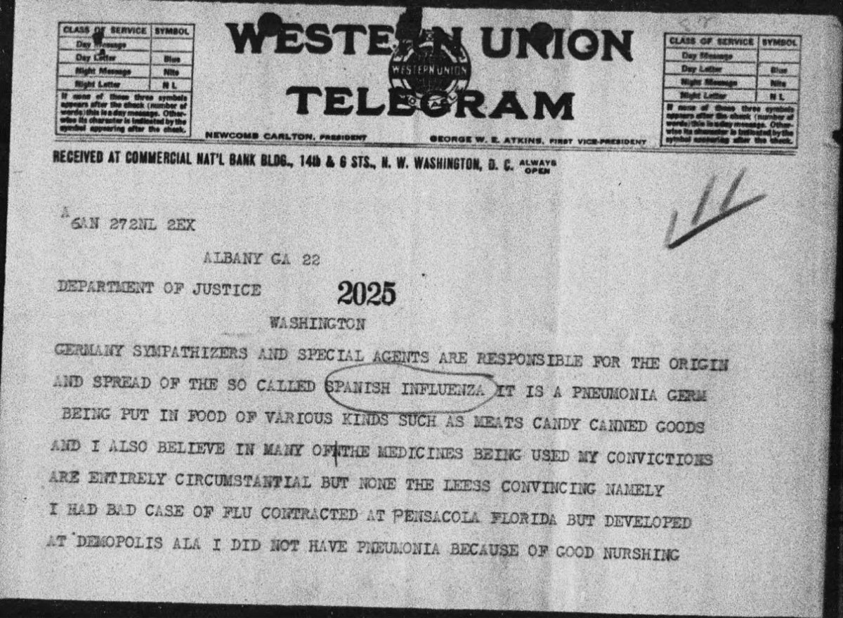 Telegram from 1918 about the Spanish Flu pandemic conspiracy theory