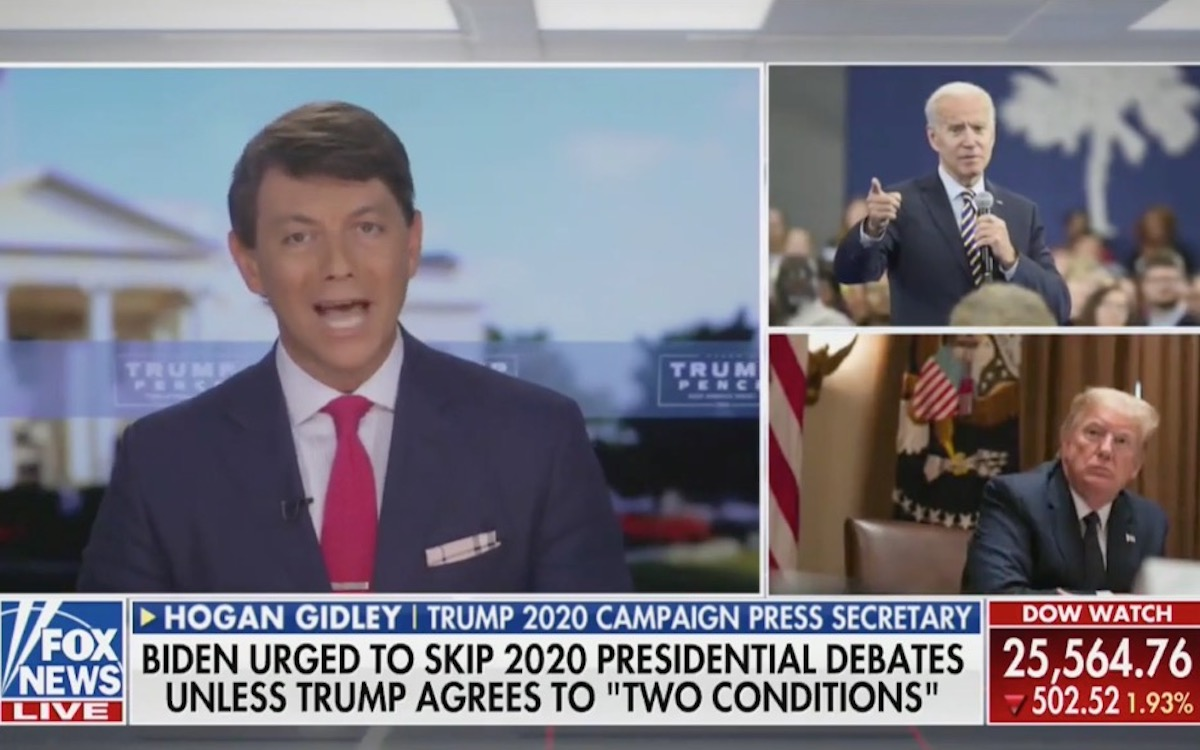 Trump campaign press secretary Hogan Gidley rants on Fox News next to pictures of Trump and Biden.