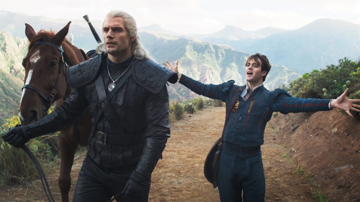 Henry Cavill as Geralt and Joey Batey as Jaskier the Bard in Netflix's The Witcher