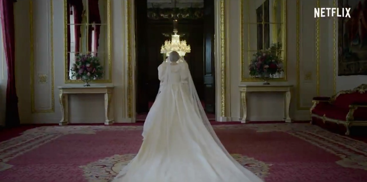 diana in her famous wedding dress for the crown promo