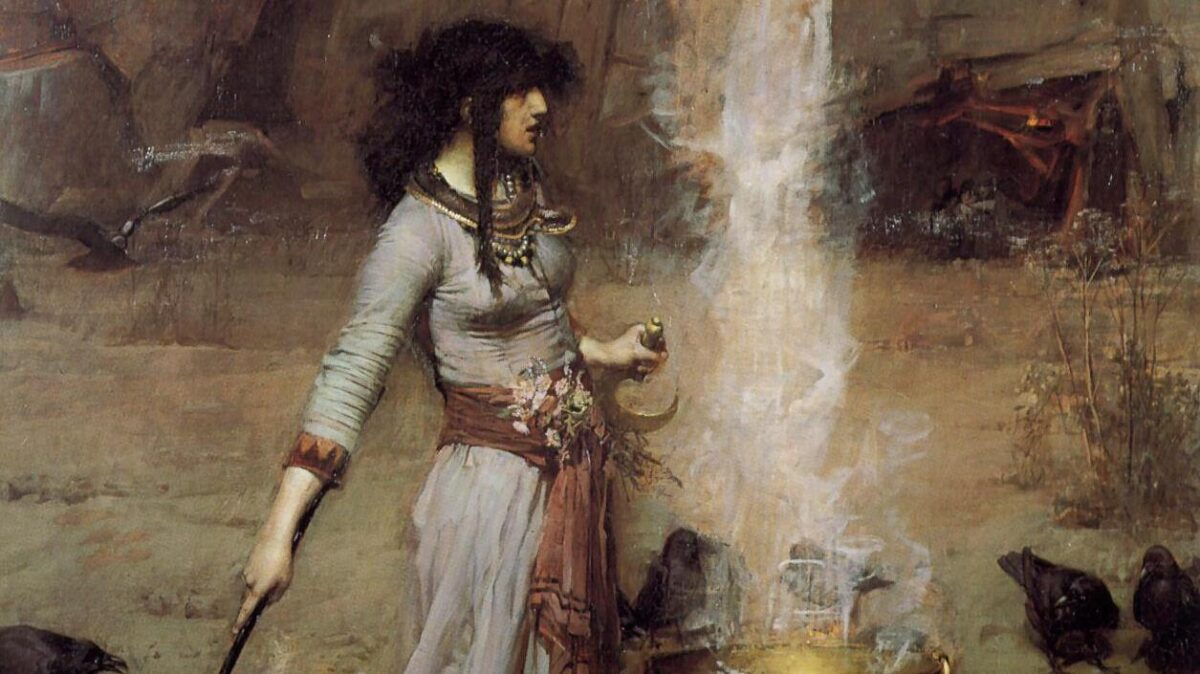 the magic circle by john william waterhouse, a wotch casts a circle
