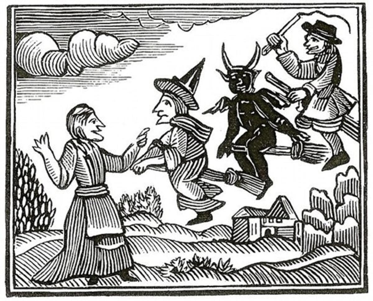 woodcut of witches flying and the devil