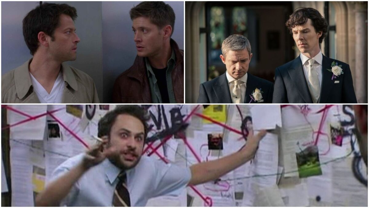 collage of johnlock destiel and the conspiracy guy from always sunny