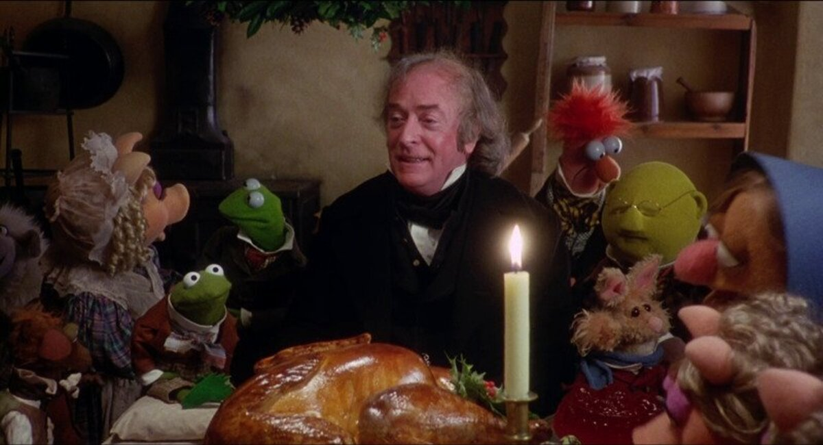 michael caine as scrooge with the muppets