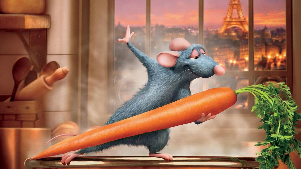 a rat dances with a carrot in ratatouille