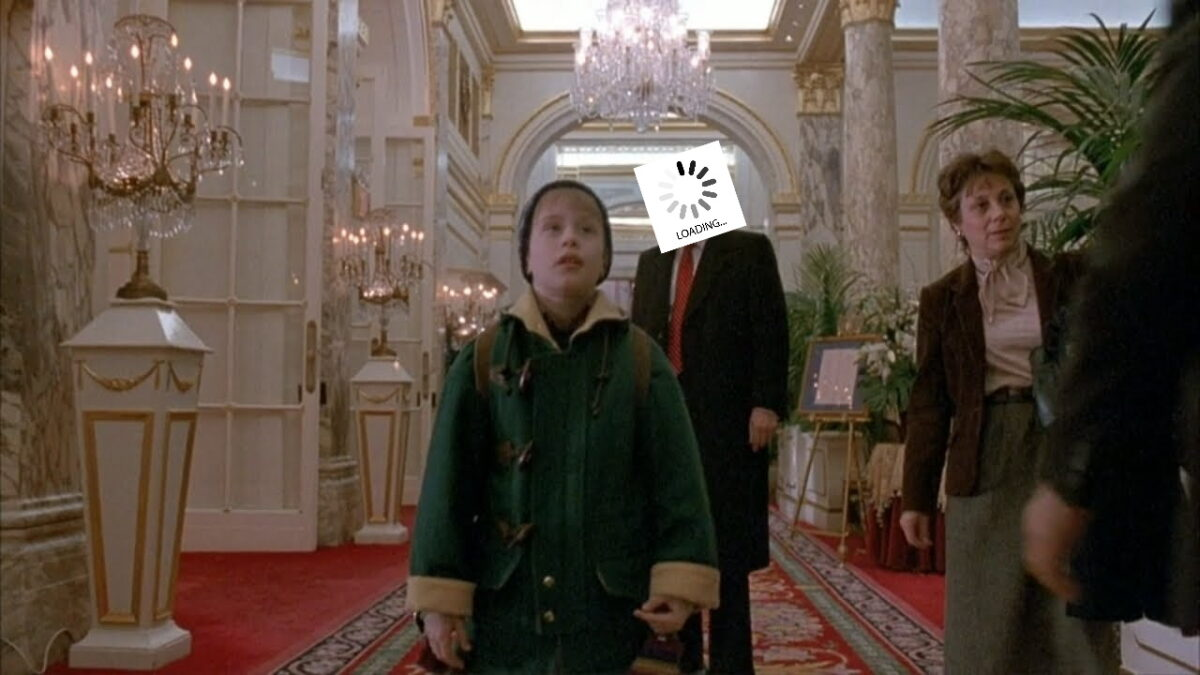 An edited image covering Trump's face from Home Alone 2