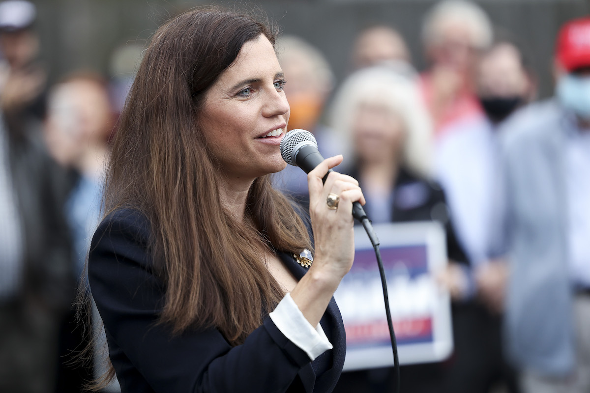 Republican Nancy Mace speaks at a rally.