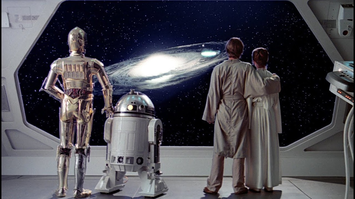 Like, Leia, R2-D2, and C-3PO gaze out into space at the rebel fleet at the cliffhanger ending of Star Wars: The Empire Strikes Back.