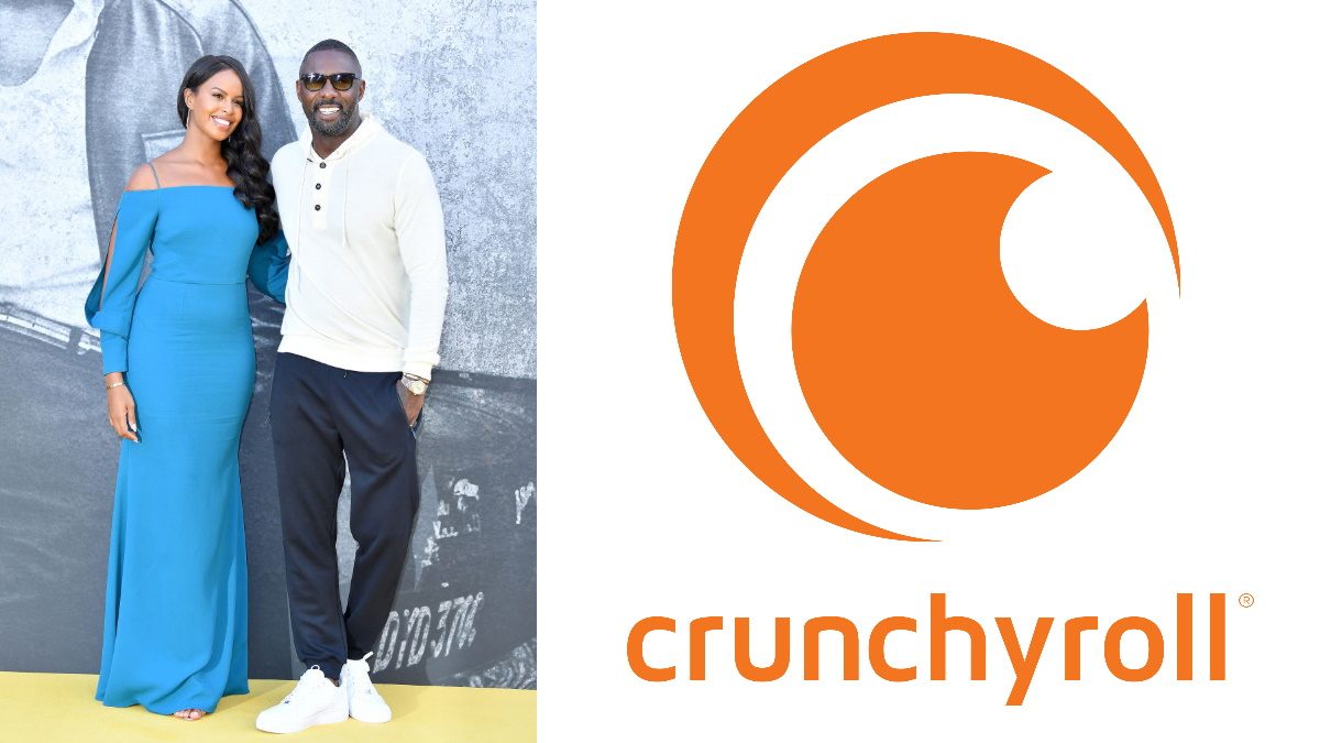 """Collage image of Sabrina Dhowre and Idris Elba attend the UK premiere of """"Yardie"""" at the BFI Southbank with the Crunchyroll logo"""