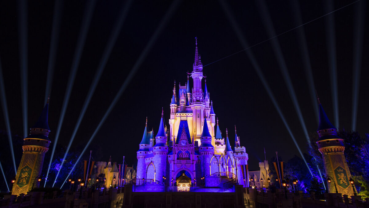 LAKE BUENA VISTA, FL: Cinderella Castle inside the Magic Kingdom Park is lit purple and gold in honor of the Los Angeles Lakers winning the 2020 NBA Final on October 11, 2020 at Walt Disney World in Lake Buena Vista, Florida. (Photo by David Roark/Disney Resorts via Getty Images)
