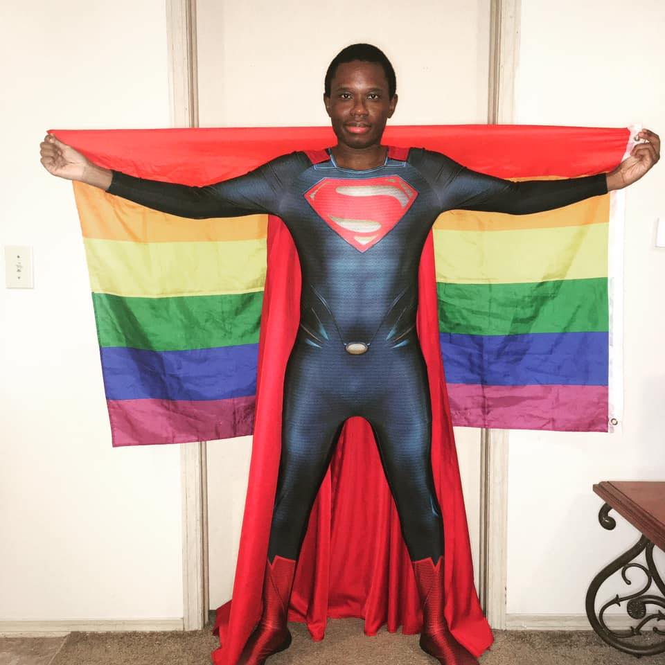 Image of Mark Wesley Pritchard (Texxx-Man Cosplay) cosplaying as Superman