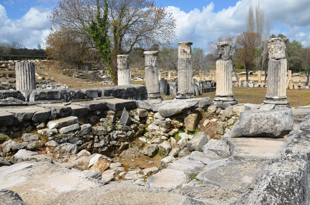the ancient sanctuary of hecate, a series of collumns
