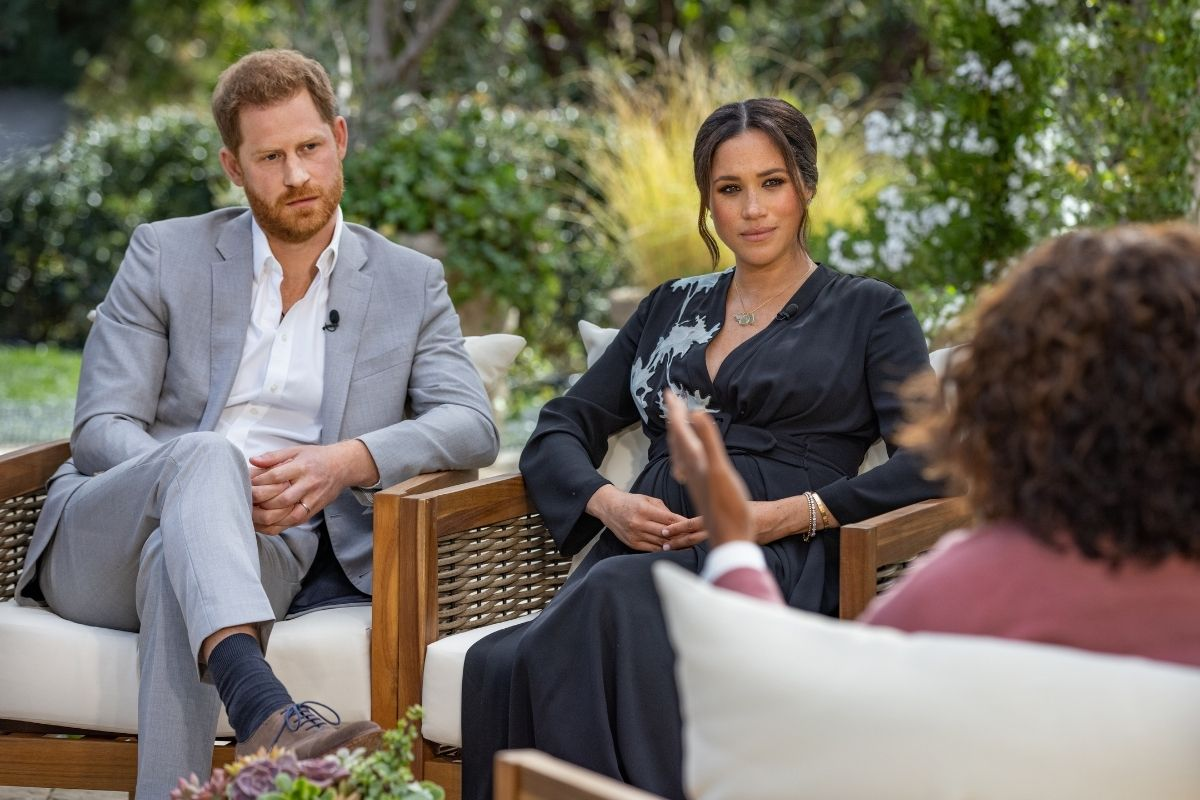 Meghan Markle and Prince Harry with Oprah during CBS Primetime Special.