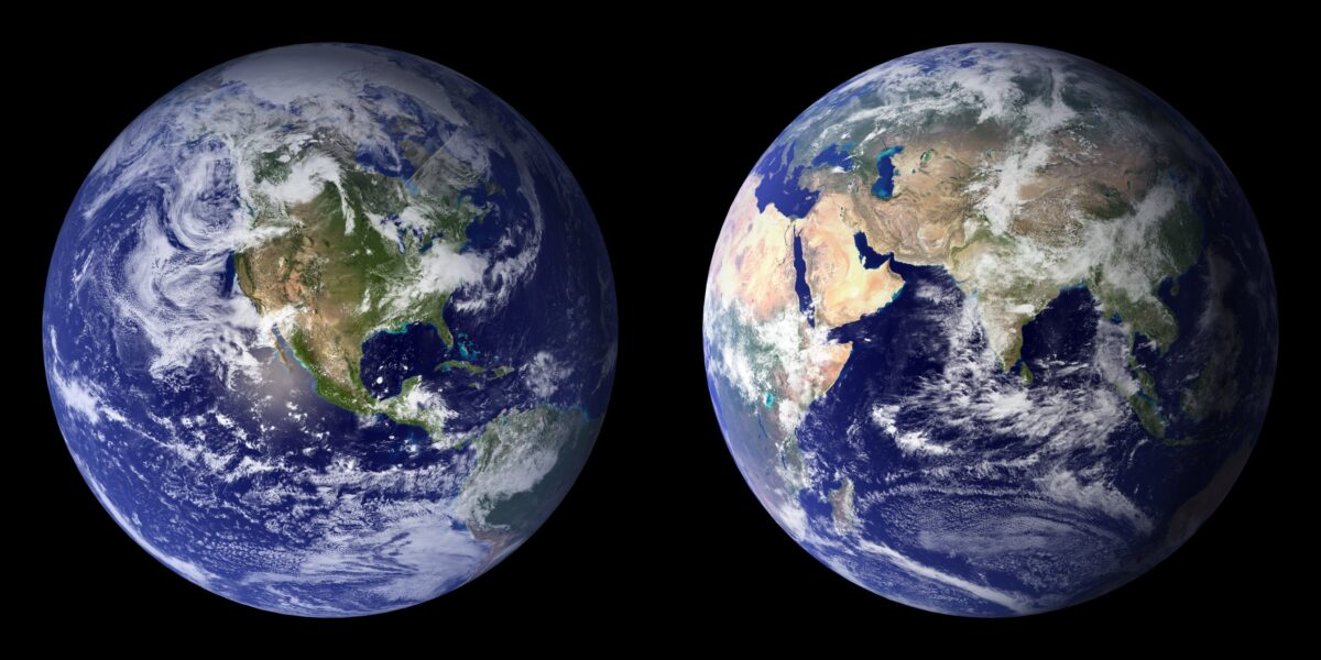 two sides of the planet earth