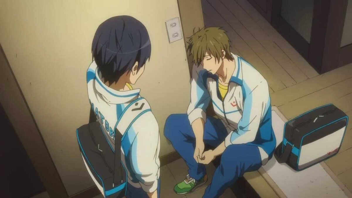 Haru checking on a sleeping Mako