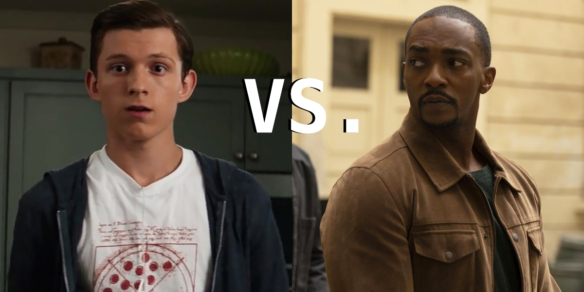 Tom Holland as Peter Parker and Anthoy Mackie as Sam Wilson