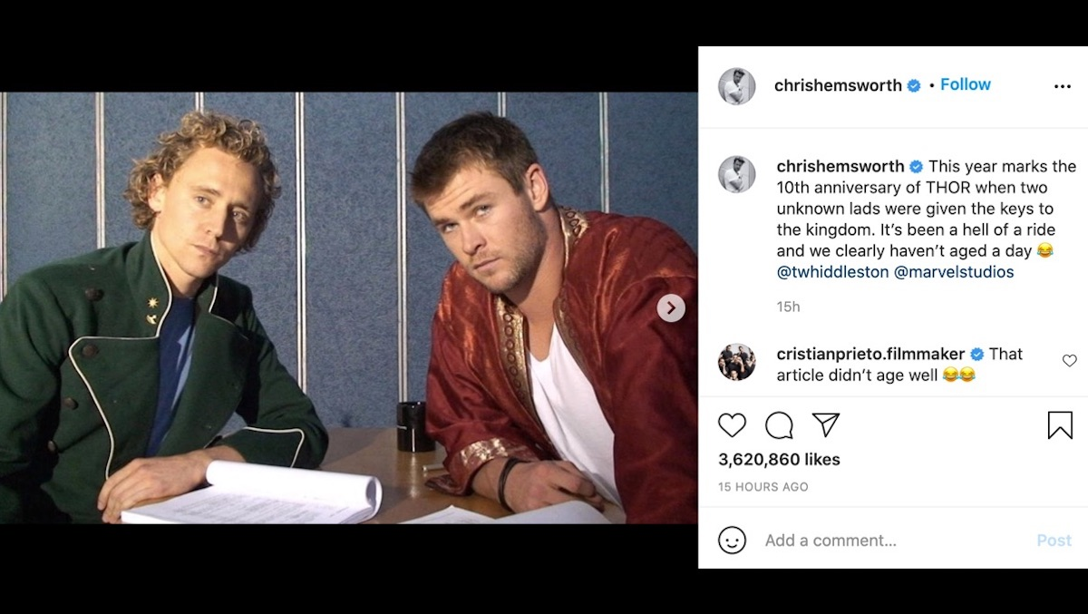 Chris Hemsworth shares an instagram with an old picture of Tom Hiddleston from Thor