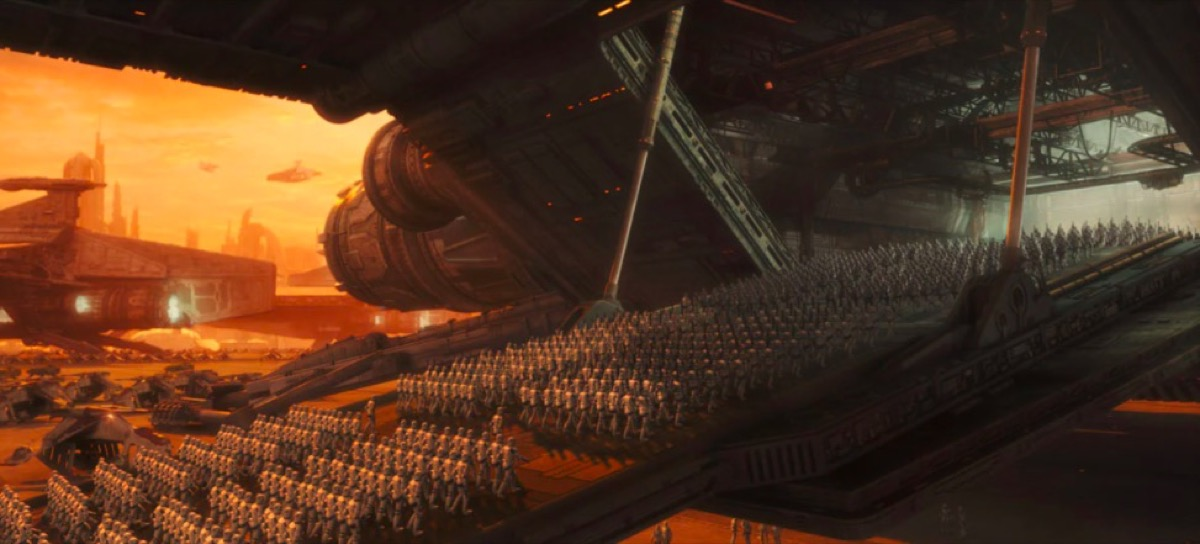 Hordes of clone troopers board ships in Star Wars Episode II: Attack of the Clones.