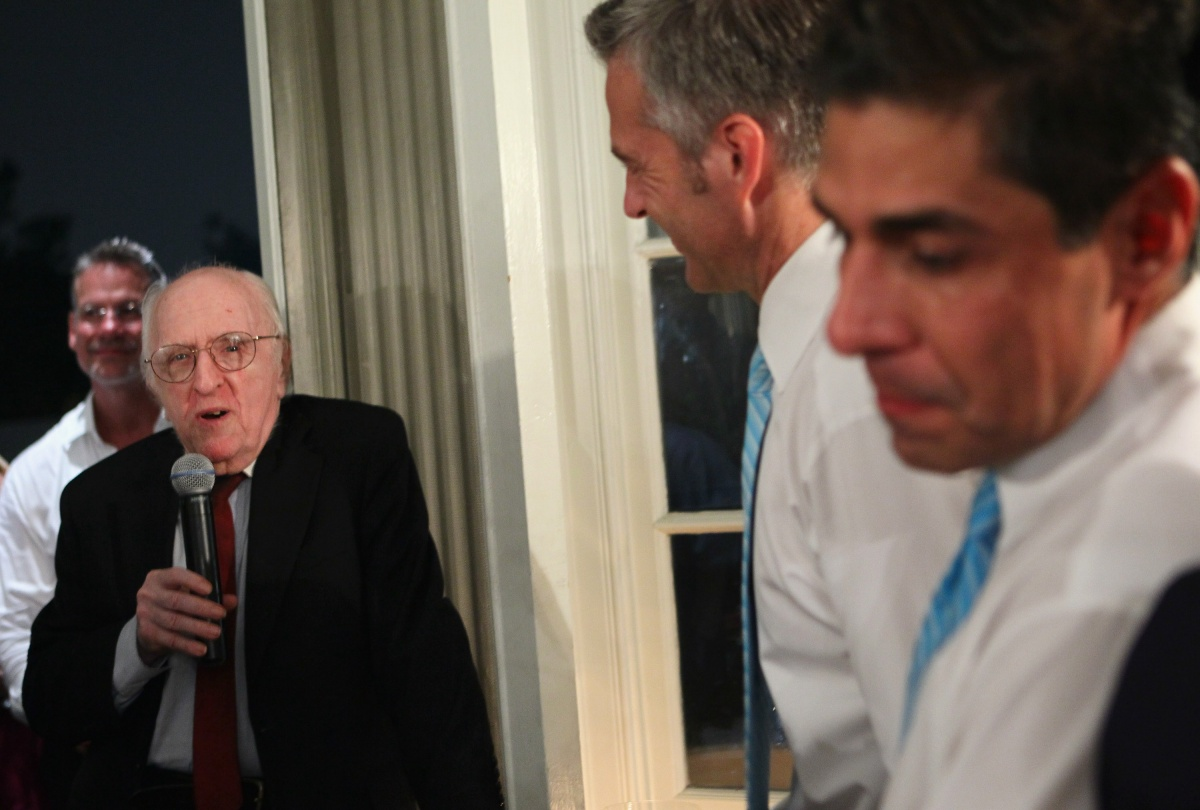 WASHINGTON - AUGUST 21: Gay rights activist Frank Kameny (2nd L) speaks during the wedding ceremony of TV reporter Roby Chavez (R) and Chris Roe (2nd R) August 21, 2010 at the Woodrow Wilson House in Washington, DC. Chavez of Matthews, Louisiana, and Roe, of Monticello, Wisconsin, tied the knot after they have been together for five years. Roe popped the question on the night when DC became the sixth place in the U.S. to legalize same-sex marriage while Chavez was on a tight deadline covering the story. The couple will spend two weeks in Greece for their honeymoon. (Photo by Alex Wong/Getty Images)